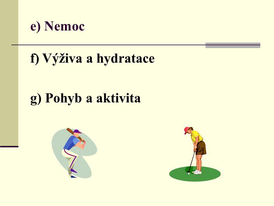 e) Nemoc f) Výživa a hydratace g) Pohyb a aktivita