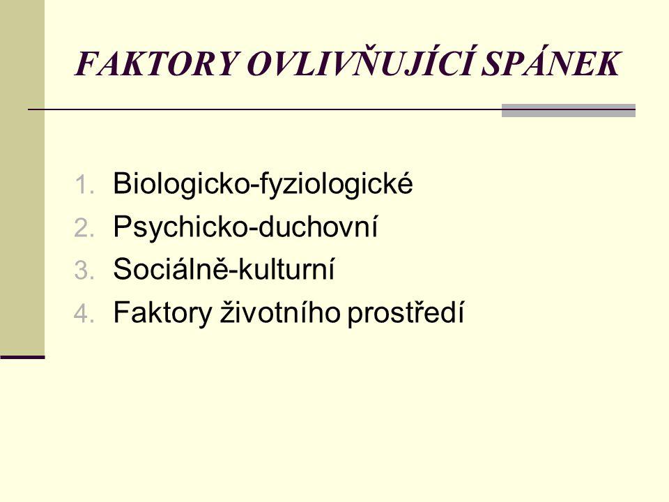 FAKTORY OVLIVŇUJÍCÍ SPÁNEK 1. Biologicko-fyziologické 2. Psychicko-duchovní 3. Sociálně-kulturní 4. Faktory životního prostředí