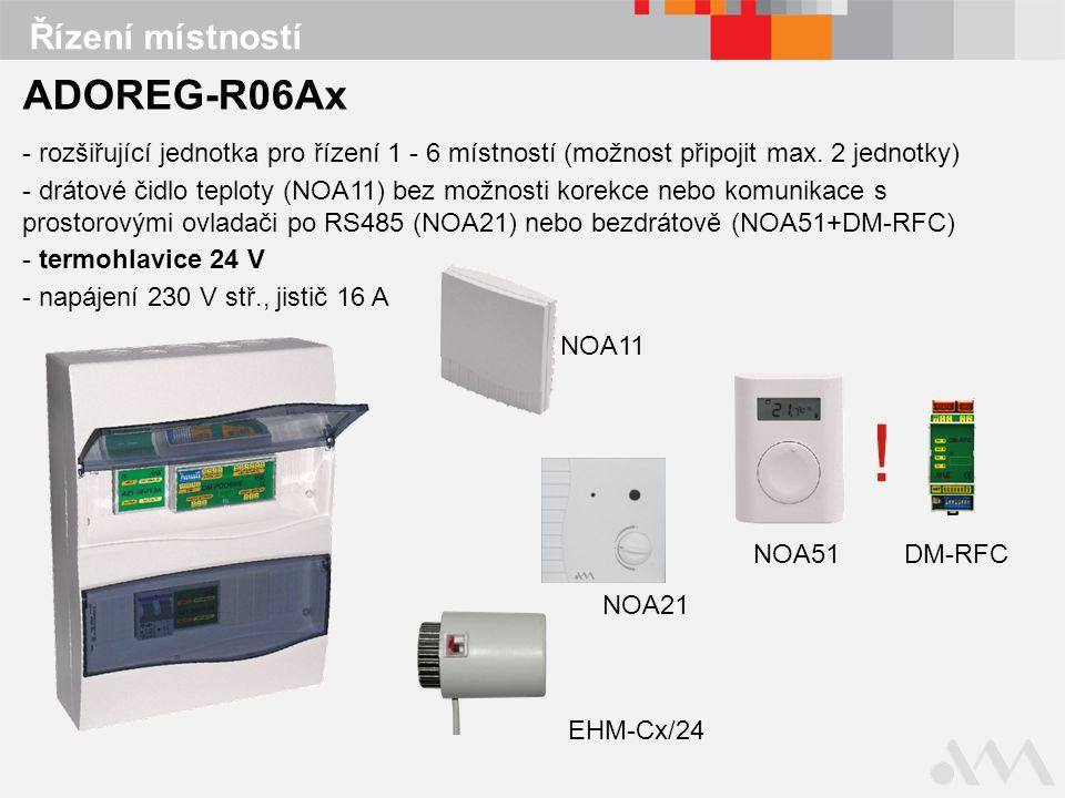 Řízení místností ADOREG-R06Ax - rozšiřující jednotka pro řízení 1 - 6 místností (možnost připojit max.