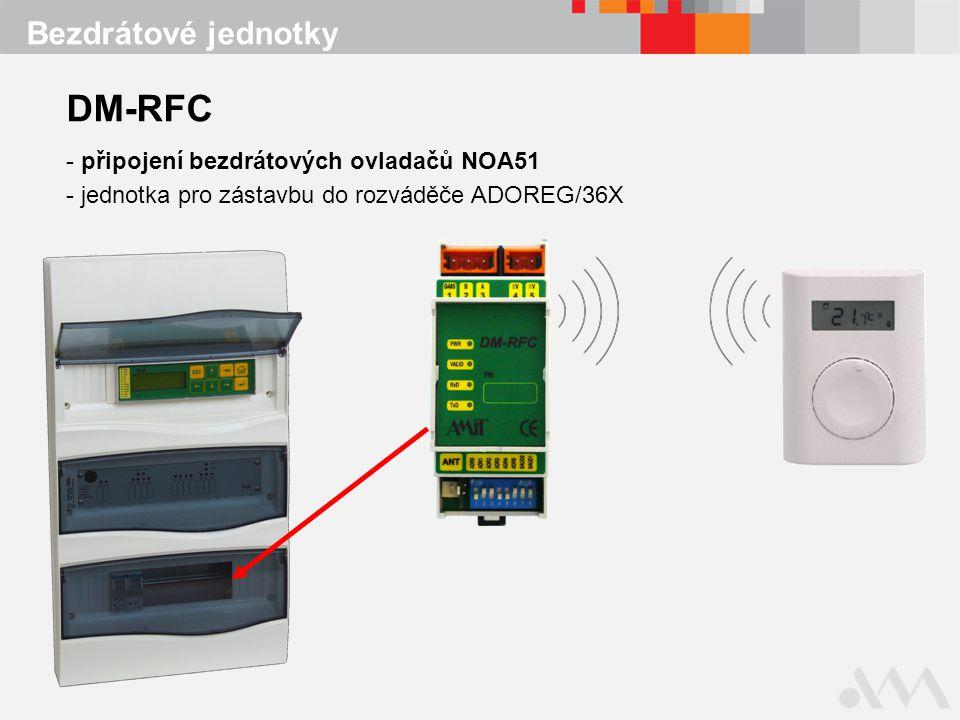 Bezdrátové jednotky DM-RFC - připojení bezdrátových ovladačů NOA51 - jednotka pro zástavbu do rozváděče ADOREG/36X