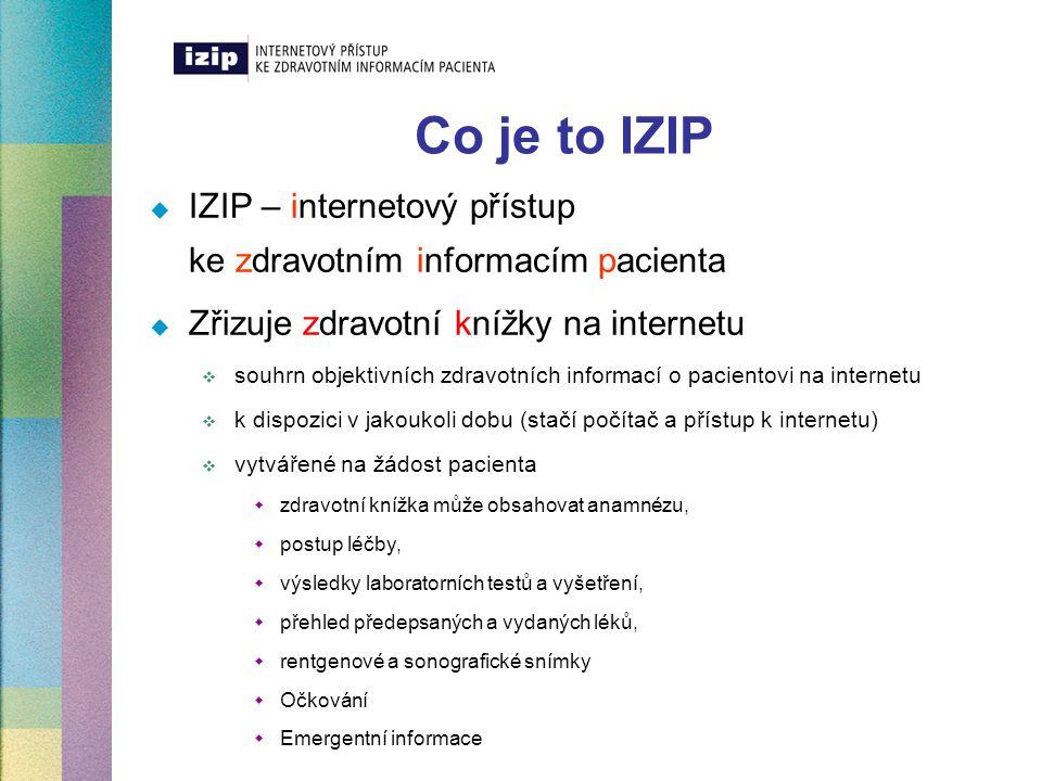 Co je to IZIP  IZIP – internetový přístup ke zdravotním informacím pacienta  Zřizuje zdravotní knížky na internetu  souhrn objektivních zdravotních