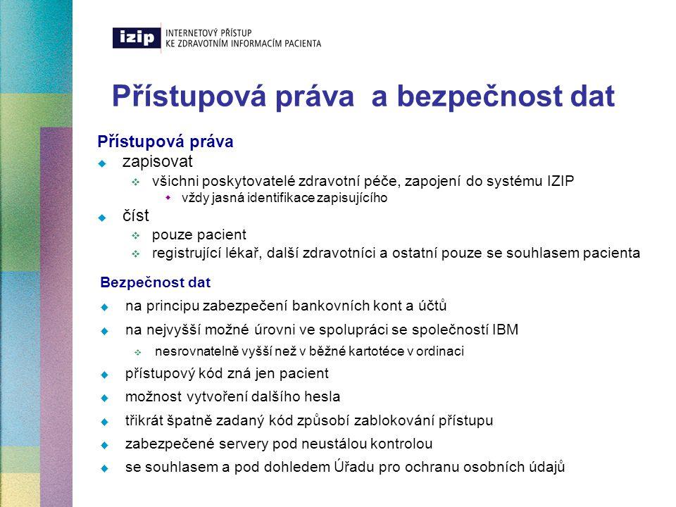 Přístupová práva a bezpečnost dat Přístupová práva  zapisovat  všichni poskytovatelé zdravotní péče, zapojení do systému IZIP  vždy jasná identifik