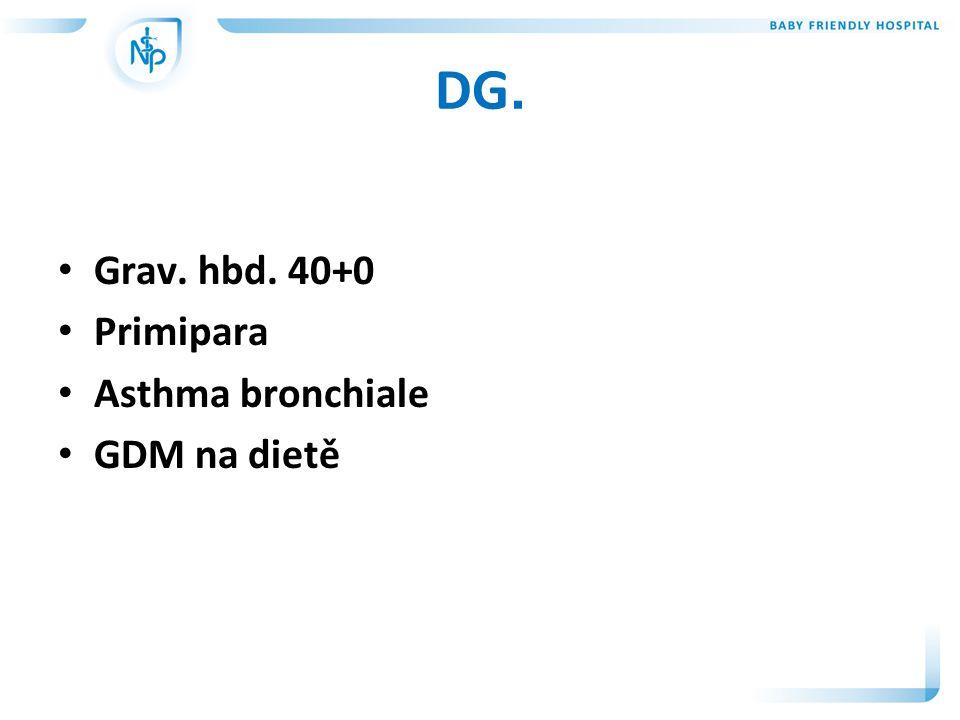 DG. • Grav. hbd. 40+0 • Primipara • Asthma bronchiale • GDM na dietě