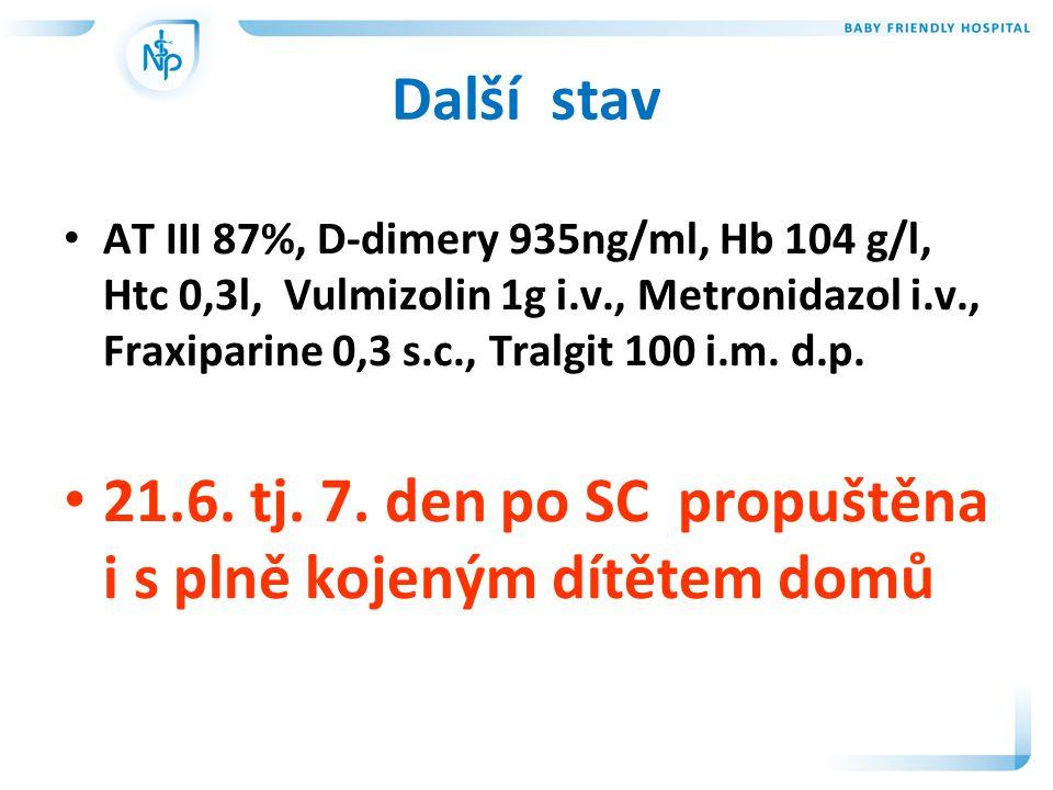 Další stav • AT III 87%, D-dimery 935ng/ml, Hb 104 g/l, Htc 0,3l, Vulmizolin 1g i.v., Metronidazol i.v., Fraxiparine 0,3 s.c., Tralgit 100 i.m.