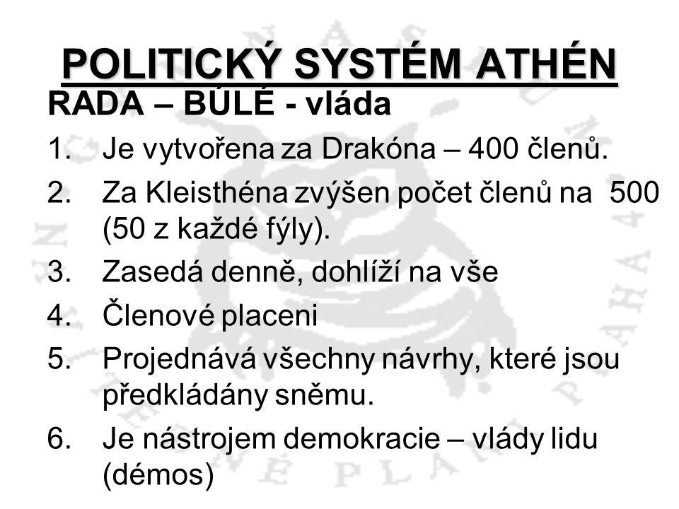 POLITICKÝ SYSTÉM ATHÉN RADA – BÚLÉ - vláda 1.Je vytvořena za Drakóna – 400 členů. 2.Za Kleisthéna zvýšen počet členů na 500 (50 z každé fýly). 3.Zased