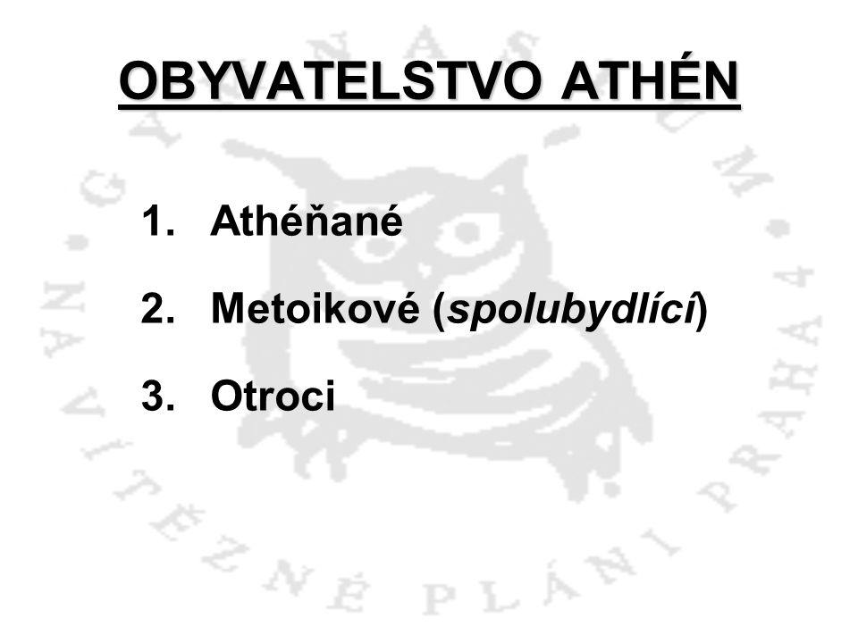 OBYVATELSTVO ATHÉN Athéňané a)narození občanům Atén b)jmenováni sněmem Athéňané jsou plnoprávní občané – muži, kteří se mohou zúčastnit politického života