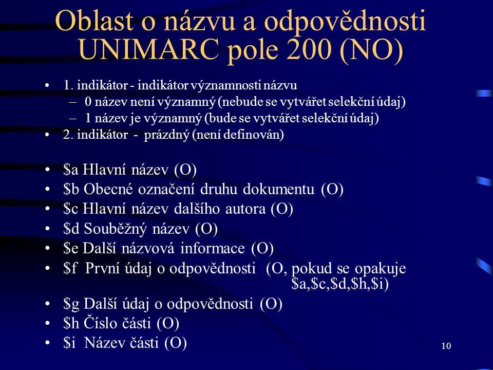 10 Oblast o názvu a odpovědnosti UNIMARC pole 200 (NO) •1. indikátor - indikátor významnosti názvu –0 název není významný (nebude se vytvářet selekční