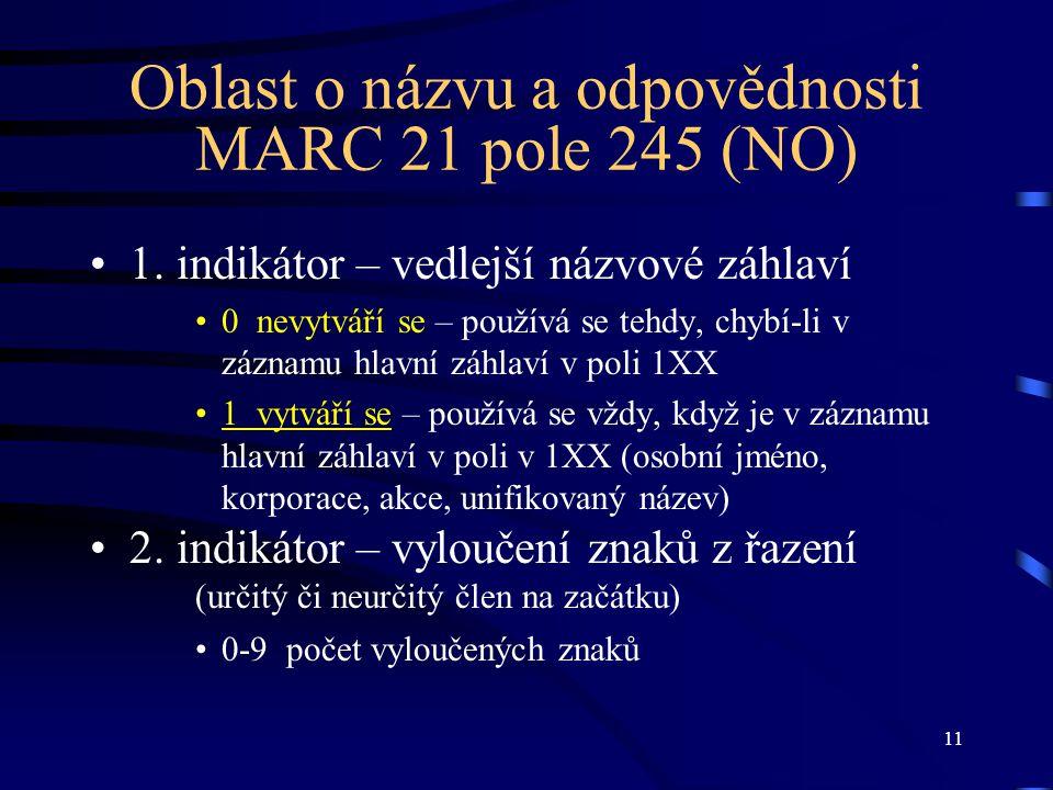 11 Oblast o názvu a odpovědnosti MARC 21 pole 245 (NO) •1. indikátor – vedlejší názvové záhlaví •0 nevytváří se – používá se tehdy, chybí-li v záznamu
