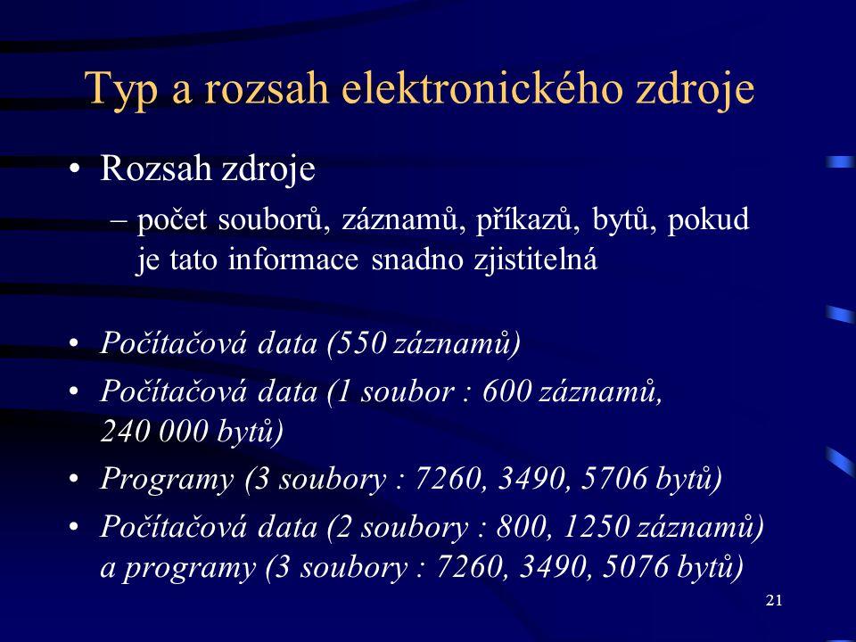 21 Typ a rozsah elektronického zdroje •Rozsah zdroje –počet souborů, záznamů, příkazů, bytů, pokud je tato informace snadno zjistitelná •Počítačová data (550 záznamů) •Počítačová data (1 soubor : 600 záznamů, 240 000 bytů) •Programy (3 soubory : 7260, 3490, 5706 bytů) •Počítačová data (2 soubory : 800, 1250 záznamů) a programy (3 soubory : 7260, 3490, 5076 bytů)