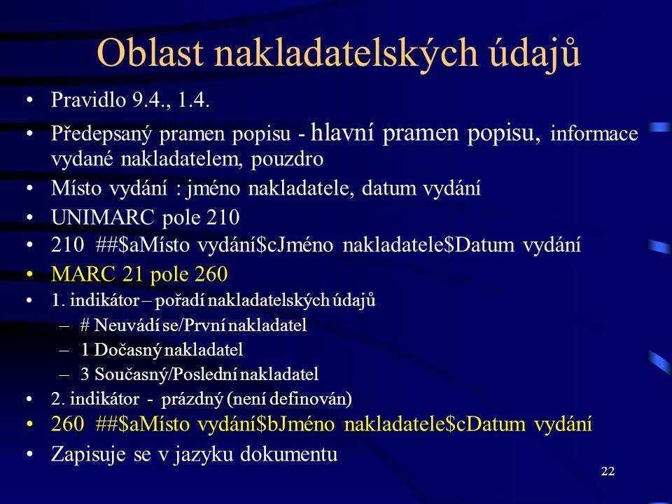 22 Oblast nakladatelských údajů •Pravidlo 9.4., 1.4. •Předepsaný pramen popisu - hlavní pramen popisu, informace vydané nakladatelem, pouzdro •Místo v