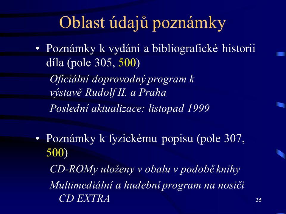 35 Oblast údajů poznámky •Poznámky k vydání a bibliografické historii díla (pole 305, 500) Oficiální doprovodný program k výstavě Rudolf II. a Praha P