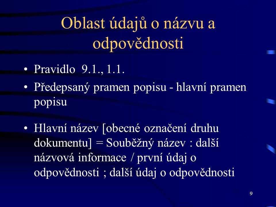 9 Oblast údajů o názvu a odpovědnosti •Pravidlo 9.1., 1.1.
