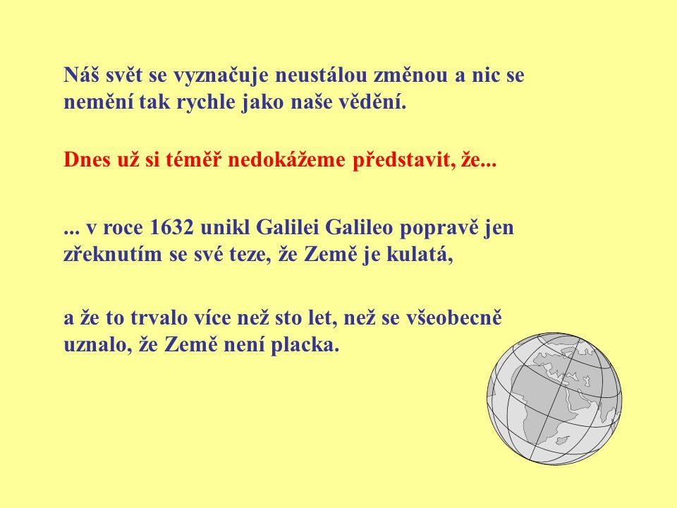 ... v roce 1632 unikl Galilei Galileo popravě jen zřeknutím se své teze, že Země je kulatá, Náš svět se vyznačuje neustálou změnou a nic se nemění tak