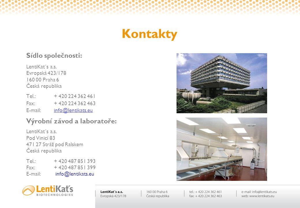 Kontakty Sídlo společnosti: LentiKat´s a.s. Evropská 423/178 160 00 Praha 6 Česká republika Tel.:+ 420 224 362 461 Fax:+ 420 224 362 463 E-mail:info@l