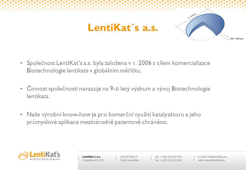 LentiKat´s a.s. •Společnost LentiKat's a.s. byla založena v r. 2006 s cílem komercializace Biotechnologie lentikats v globálním měřítku. •Činnost spol