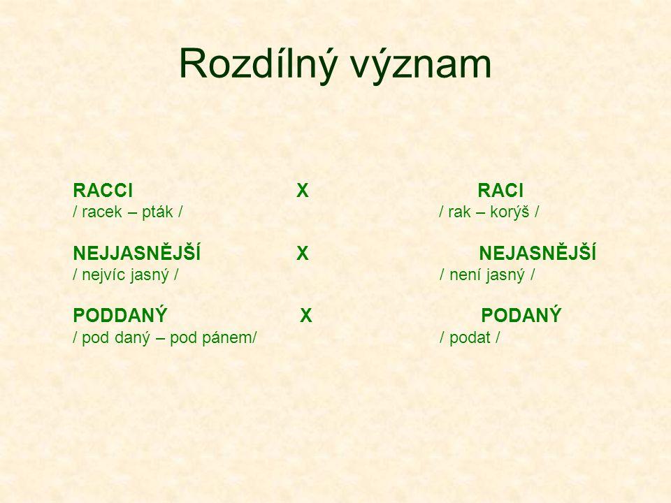 Rozdílný význam RACCI X RACI / racek – pták / / rak – korýš / NEJJASNĚJŠÍ X NEJASNĚJŠÍ / nejvíc jasný / / není jasný / PODDANÝ X PODANÝ / pod daný – pod pánem/ / podat /