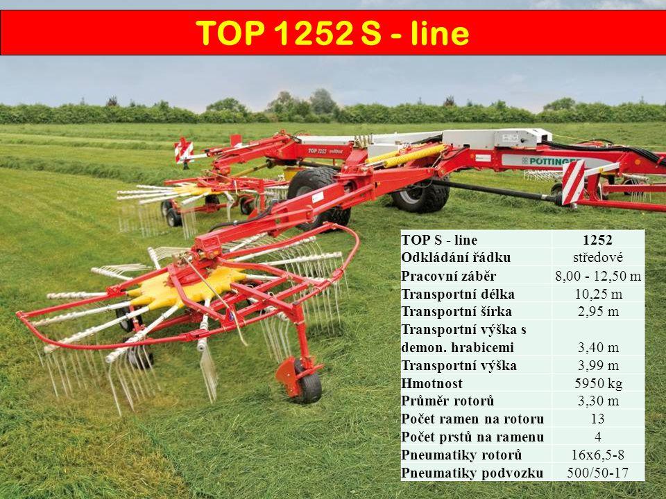 TOP S - line1252 Odkládání řádkustředové Pracovní záběr 8,00 - 12,50 m Transportní délka10,25 m Transportní šírka2,95 m Transportní výška s demon. hra