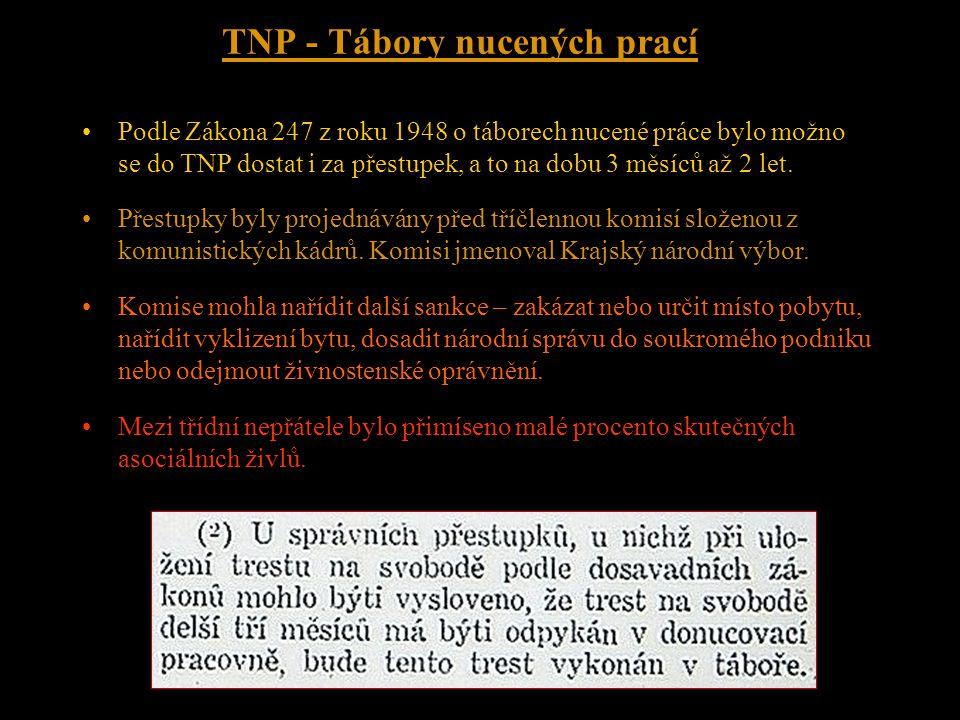 """TNP - Tábory nucených prací Zákon o TNP umožnil terorizování živnostníků, politických odpůrců, náboženských aktivistů a dalších tzv. """"třídních nepřáte"""