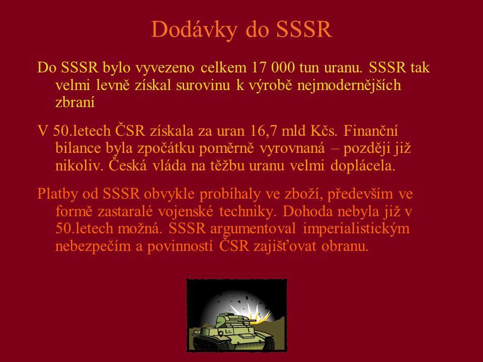 Dodávky do SSSR Do SSSR bylo vyvezeno celkem 17 000 tun uranu.