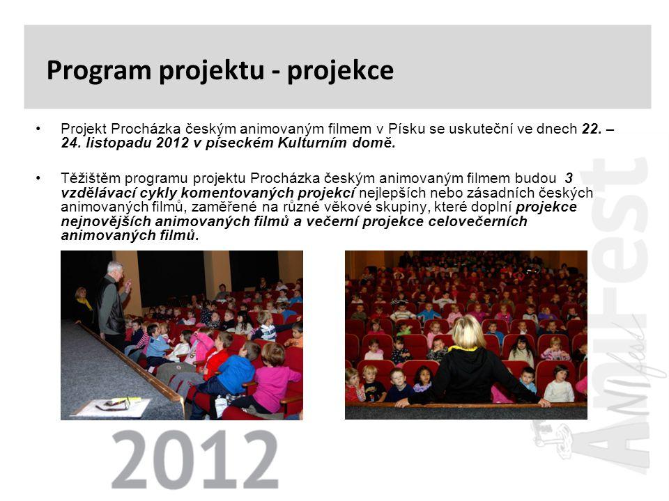 •Projekt Procházka českým animovaným filmem v Písku se uskuteční ve dnech 22. – 24. listopadu 2012 v píseckém Kulturním domě. •Těžištěm programu proje