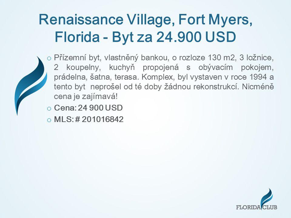Renaissance Village, Fort Myers, Florida - Byt za 24.900 USD o Přízemní byt, vlastněný bankou, o rozloze 130 m2, 3 ložnice, 2 koupelny, kuchyň propojená s obývacím pokojem, prádelna, šatna, terasa.