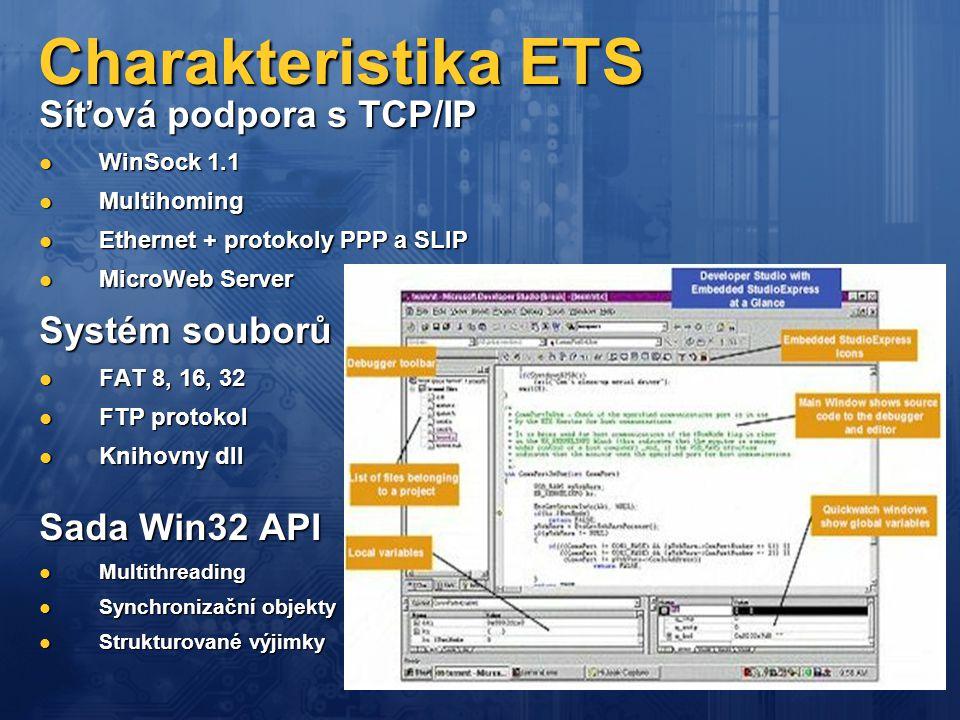 Charakteristika ETS Síťová podpora s TCP/IP  WinSock 1.1  Multihoming  Ethernet + protokoly PPP a SLIP  MicroWeb Server Systém souborů  FAT 8, 16