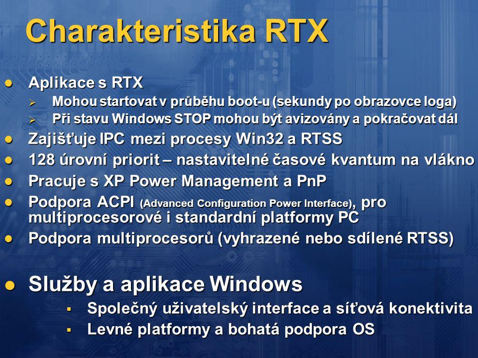 Charakteristika RTX  Aplikace s RTX  Mohou startovat v průběhu boot-u (sekundy po obrazovce loga)  Při stavu Windows STOP mohou být avizovány a pok