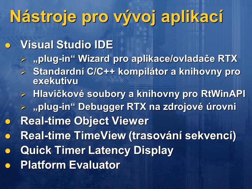 """Nástroje pro vývoj aplikací  Visual Studio IDE  """"plug-in"""" Wizard pro aplikace/ovladače RTX  Standardní C/C++ kompilátor a knihovny pro exekutivu """