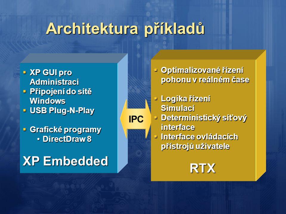 Architektura příkladů  XP GUI pro Administraci  Připojení do sítě Windows  USB Plug-N-Play  Grafické programy •DirectDraw 8 XP Embedded IPC  Opti
