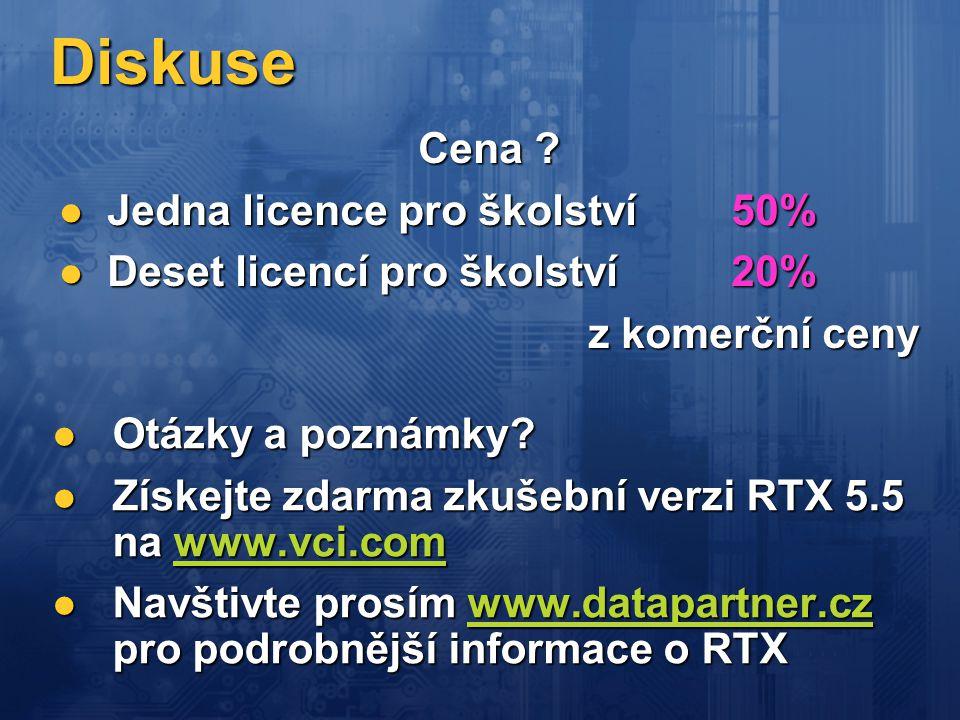 Diskuse  Otázky a poznámky?  Získejte zdarma zkušební verzi RTX 5.5 na www.vci.com www.vci.com  Navštivte prosím www.datapartner.cz pro podrobnější