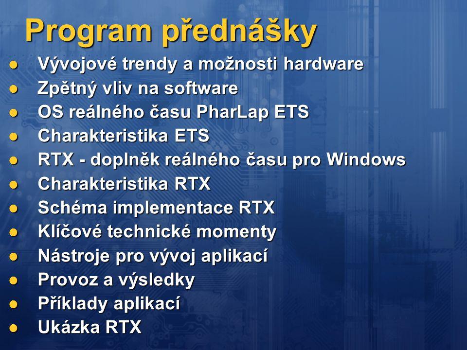 Program přednášky  Vývojové trendy a možnosti hardware  Zpětný vliv na software  OS reálného času PharLap ETS  Charakteristika ETS  RTX - doplněk