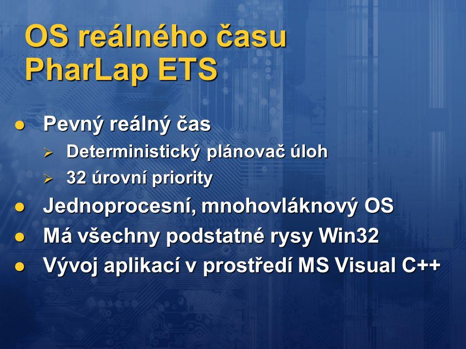 OS reálného času PharLap ETS  Pevný reálný čas  Deterministický plánovač úloh  32 úrovní priority  Jednoprocesní, mnohovláknový OS  Má všechny po