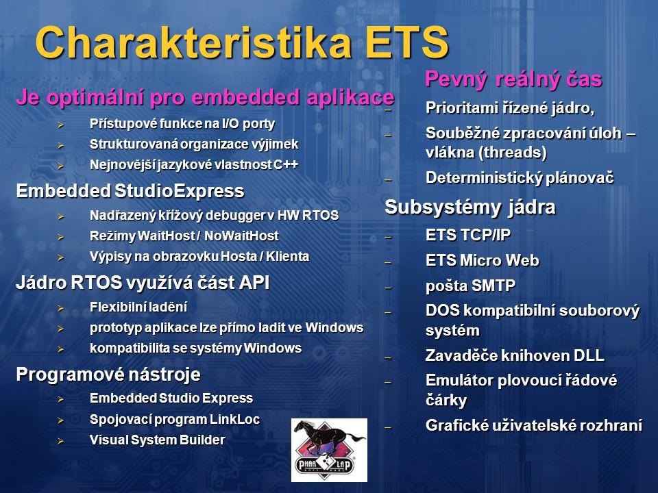 Charakteristika ETS Je optimální pro embedded aplikace  Přístupové funkce na I/O porty  Strukturovaná organizace výjimek  Nejnovější jazykové vlast
