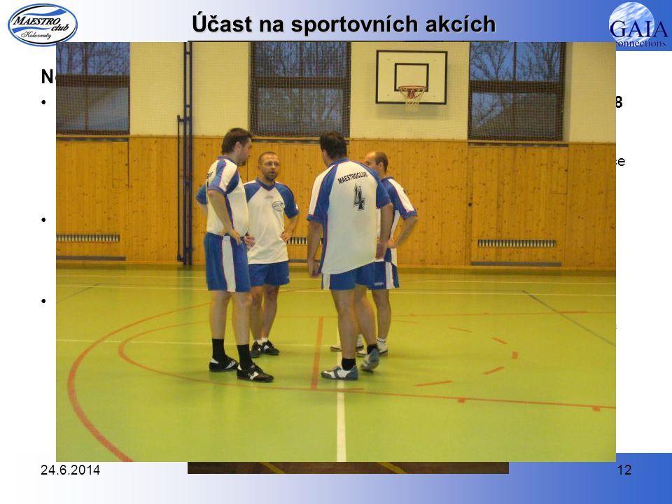 24.6.201412 Účast na sportovních akcích Nohejbal •Dlouhodobá soutěž – 4. třída Městského přeboru družstev (MPD) 2008  15. dubna 2008 jsme nastoupili
