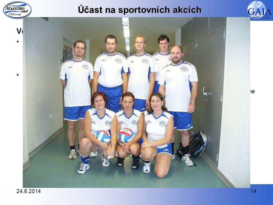24.6.201414 Účast na sportovních akcích Volejbal •Amatérská volejbalová liga (AVL), 5. liga, ročník 2007/2008  V tomto období jsme zakončili své půso