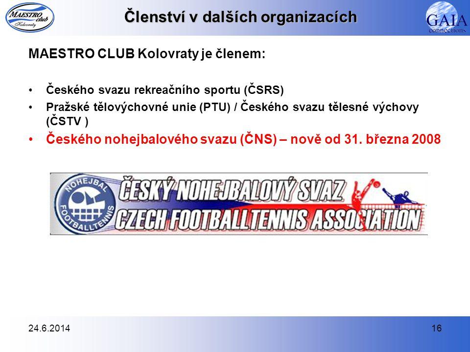 24.6.201416 Členství v dalších organizacích MAESTRO CLUB Kolovraty je členem: •Českého svazu rekreačního sportu (ČSRS) •Pražské tělovýchovné unie (PTU