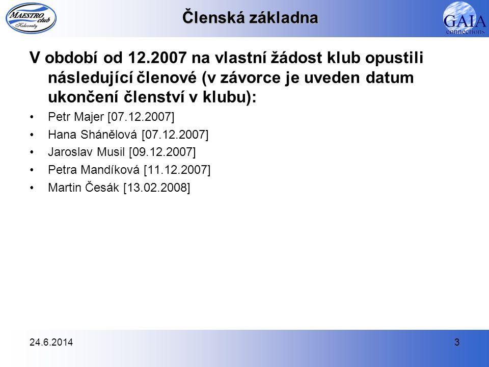 24.6.20143 Členská základna V období od 12.2007 na vlastní žádost klub opustili následující členové (v závorce je uveden datum ukončení členství v klu