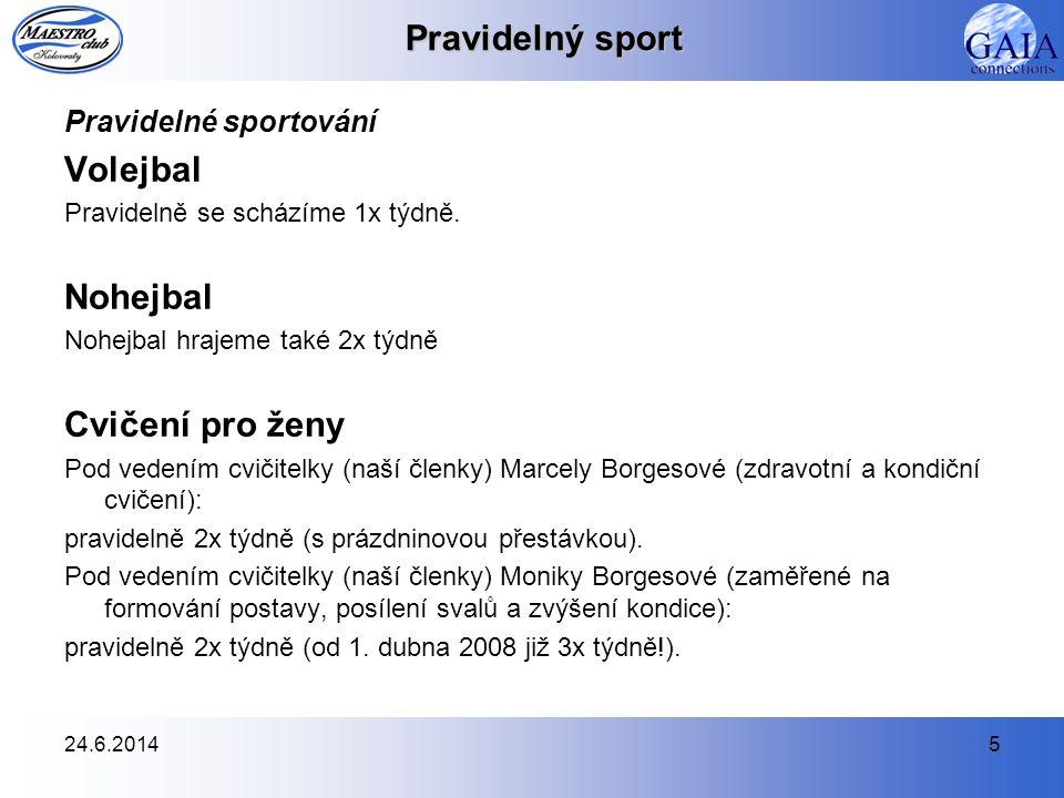 24.6.20145 Pravidelný sport Pravidelné sportování Volejbal Pravidelně se scházíme 1x týdně. Nohejbal Nohejbal hrajeme také 2x týdně Cvičení pro ženy P