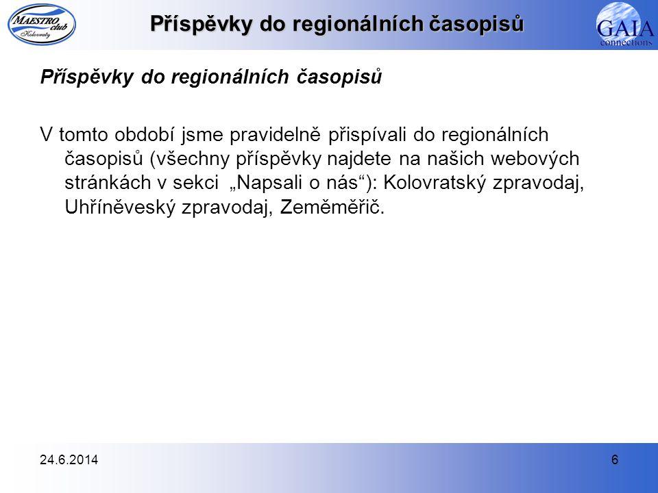24.6.20146 Příspěvky do regionálních časopisů V tomto období jsme pravidelně přispívali do regionálních časopisů (všechny příspěvky najdete na našich