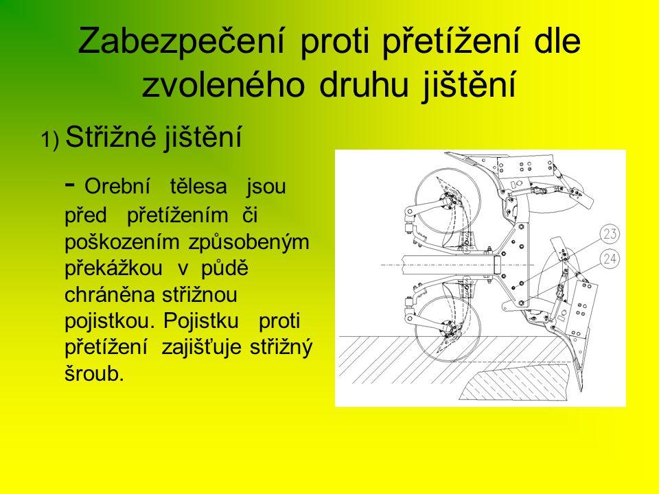 Zabezpečení proti přetížení dle zvoleného druhu jištění 1) Střižné jištění - Orební tělesa jsou před přetížením či poškozením způsobeným překážkou v p