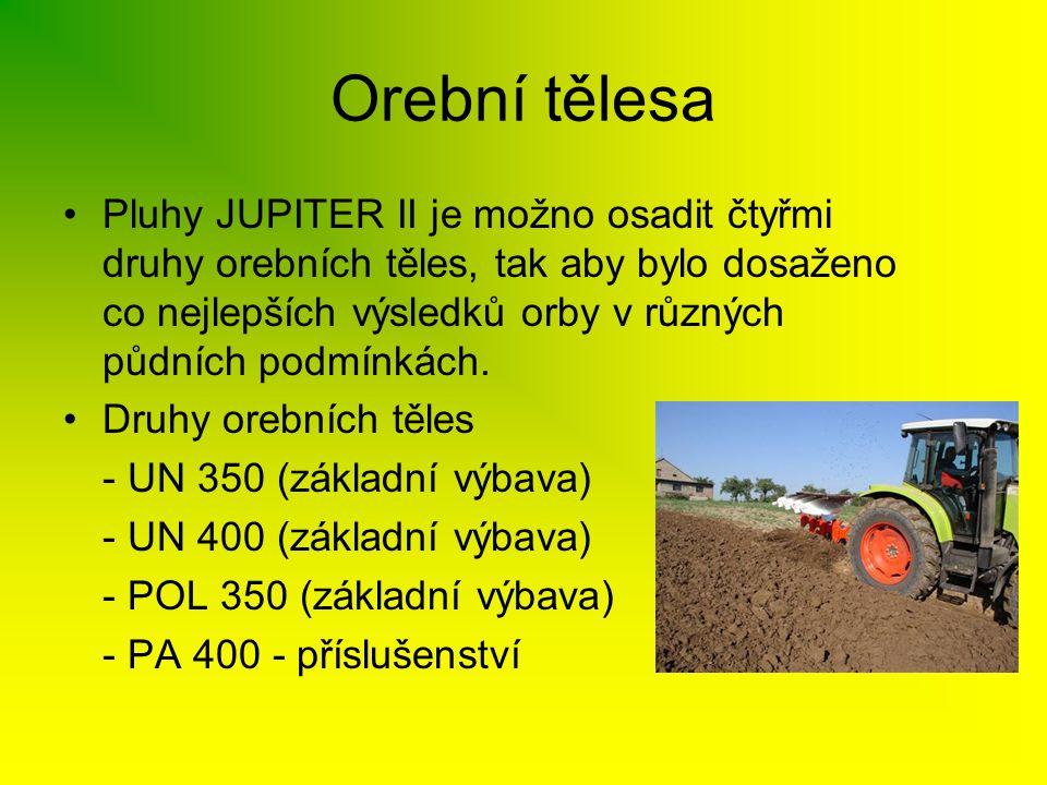 •Pluhy JUPITER II je možno osadit čtyřmi druhy orebních těles, tak aby bylo dosaženo co nejlepších výsledků orby v různých půdních podmínkách. •Druhy