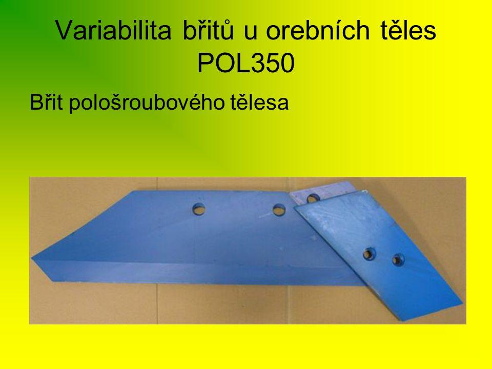 Variabilita břitů u orebních těles POL350 Břit pološroubového tělesa