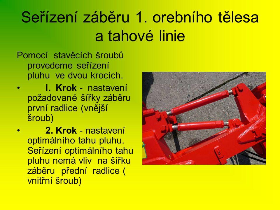 Seřízení záběru 1. orebního tělesa a tahové linie Pomocí stavěcích šroubů provedeme seřízení pluhu ve dvou krocích. • l. Krok - nastavení požadované š