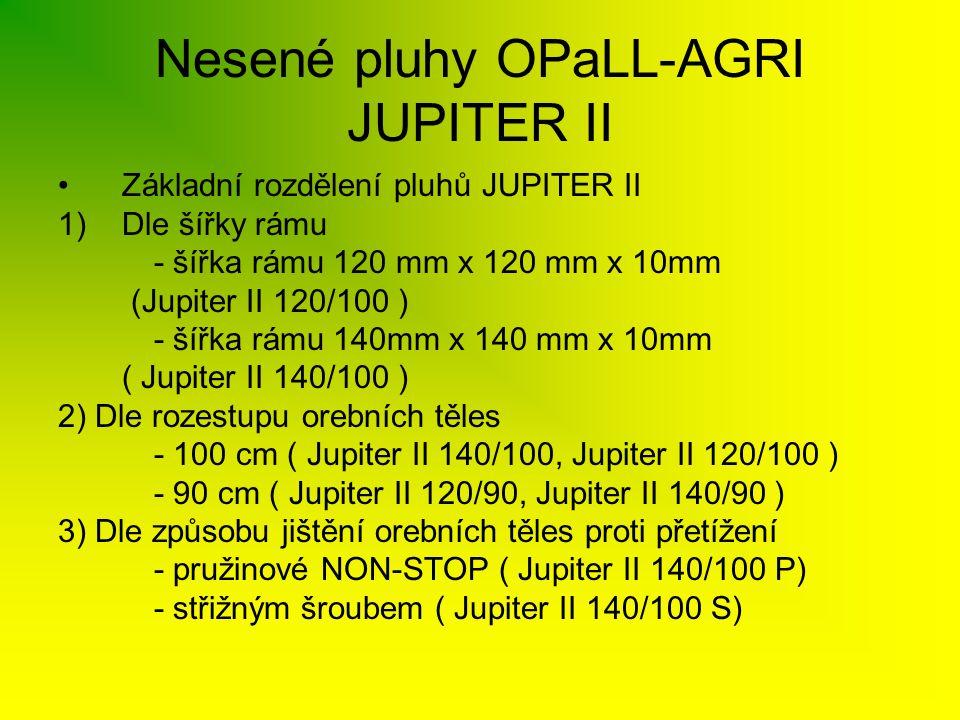 Nesené pluhy OPaLL-AGRI JUPITER II •Základní rozdělení pluhů JUPITER II 1)Dle šířky rámu - šířka rámu 120 mm x 120 mm x 10mm (Jupiter II 120/100 ) - š