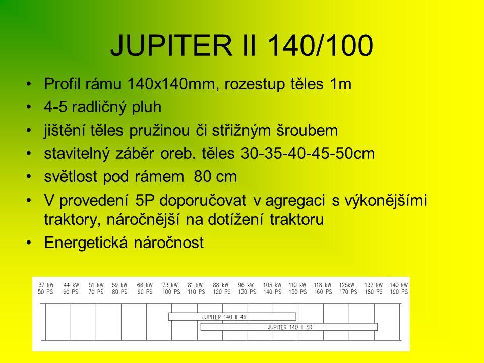 JUPITER II 140/100 •Profil rámu 140x140mm, rozestup těles 1m •4-5 radličný pluh •jištění těles pružinou či střižným šroubem •stavitelný záběr oreb. tě