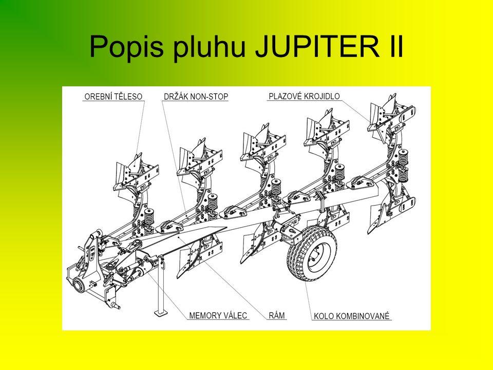 JUPITER II 120/90 •profil rámu 120x120mm, tloušťka stěny 10mm •3-4 radličný pluh, stavebnicový systém •jištění těles pružinou či střižným šroubem •stavitelný záběr orebních těles 30-35-40 cm •světlost pod rámem 80 cm •vhodný pro 4válcové traktory s nižší hmotností •energetická náročnost