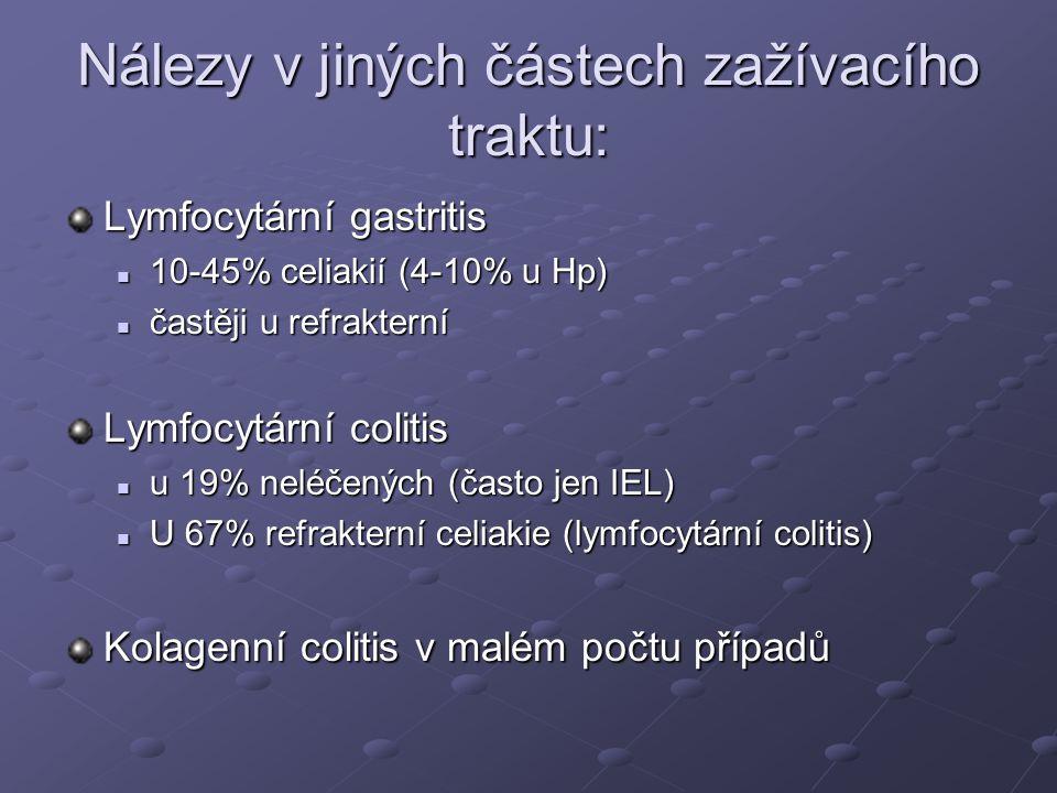 Nálezy v jiných částech zažívacího traktu: Lymfocytární gastritis  10-45% celiakií (4-10% u Hp)  častěji u refrakterní Lymfocytární colitis  u 19% neléčených (často jen IEL)  U 67% refrakterní celiakie (lymfocytární colitis) Kolagenní colitis v malém počtu případů