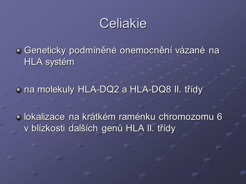 Celiakie Geneticky podmíněné onemocnění vázané na HLA systém na molekuly HLA-DQ2 a HLA-DQ8 II.