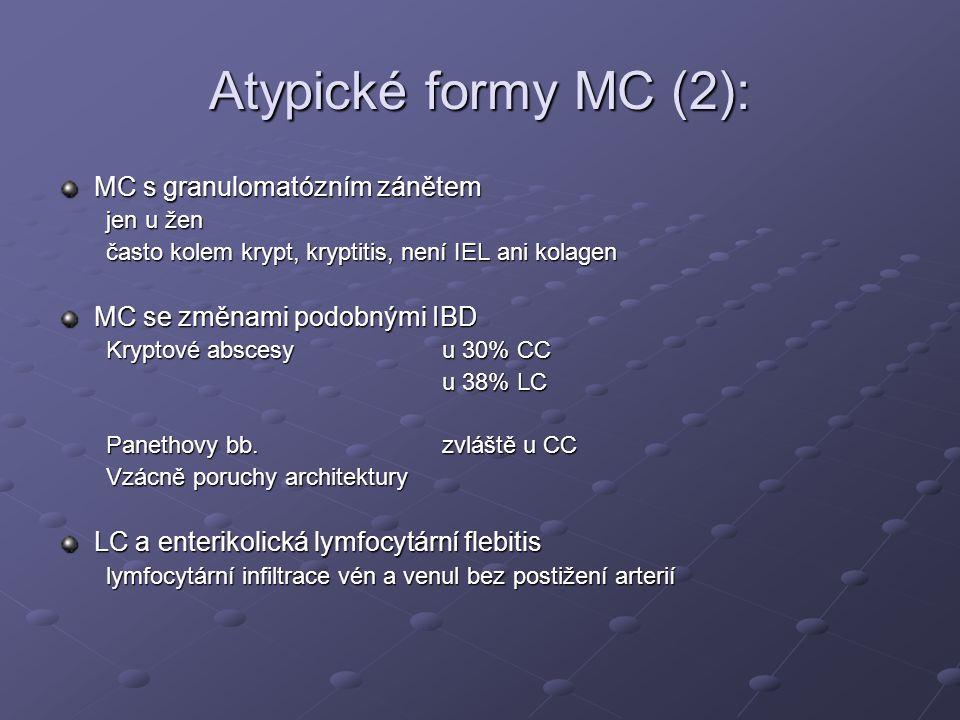 Atypické formy MC (2): MC s granulomatózním zánětem jen u žen často kolem krypt, kryptitis, není IEL ani kolagen MC se změnami podobnými IBD Kryptové abscesyu 30% CC u 38% LC Panethovy bb.zvláště u CC Vzácně poruchy architektury LC a enterikolická lymfocytární flebitis lymfocytární infiltrace vén a venul bez postižení arterií