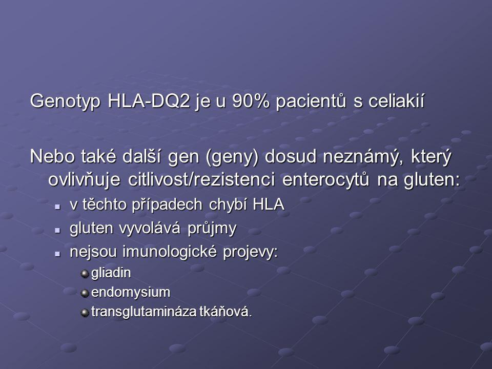 Genotyp HLA-DQ2 je u 90% pacientů s celiakií Nebo také další gen (geny) dosud neznámý, který ovlivňuje citlivost/rezistenci enterocytů na gluten:  v těchto případech chybí HLA  gluten vyvolává průjmy  nejsou imunologické projevy: gliadinendomysium transglutamináza tkáňová.